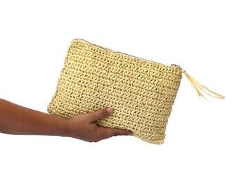Natural raffia crochet clutch, summer beach bag, boho straw clutch, raphia beach bag, woven clutch, straw purse, summer bag, tan color bag