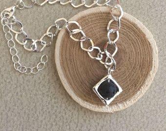 Essential Oil Bracelet Black Lava Stone Diffuser Aromatherapy Jewelry Silver Framed Lava Bead Silver Bracelet EO Jewelry Oil Bracelet OOLA