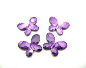Butterfly 22 acrylic faceted beads x 30 mm medium Orchid X 5 color