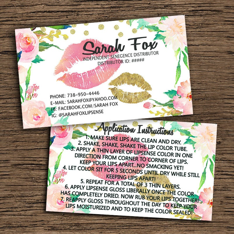 LipSense Business Card And Application Instruction Card