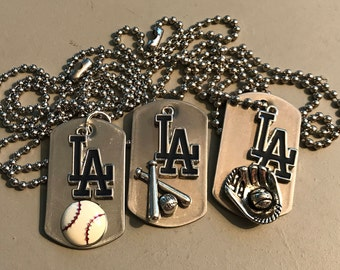 Los Angeles Dodgers Necklace, mini dog tag
