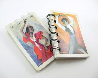 2 Fournier Playing Card Blank Spiral Bound Notebooks recycled, European cards, to do list, small notepad, Spanish Dancers, Limited Edition