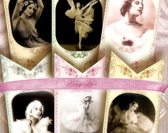 Ballerina..Bookmark, Tags, Shaby chic, Digital Collage Sheet Bookmarks, Vintage Images, Gift, Tags, Craft, Supply