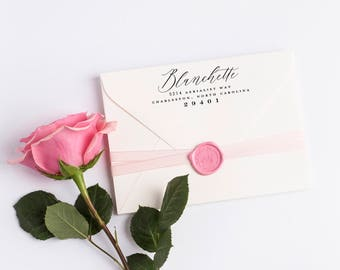 Custom Return Address Stamp, Self Ink Return Address Stamp, Wedding Return Address, Calligraphy Address Stamp Return Address Stamp No 122
