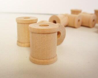 """75 Miniature Wooden Spools  3/4"""" x 5/8""""  x 7/32"""" hole -Wooden Spools Decorative -Small Spools -Natural Wooden Spools"""