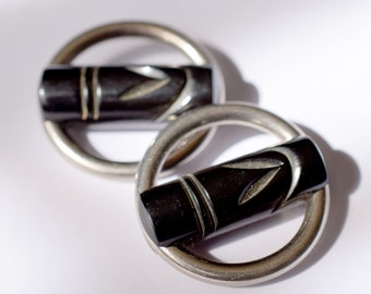 Exceptional Art Deco Bakelite and Chrome Buttons