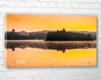 Lake photography, Muskoka canvas art, art for bedroom, orange wall decor, triptych, sunrise pictures, ontario scenery, 4 wall panels 48 inch