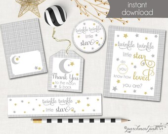 Twinkle Twinkle Little Star Printable Party Set - Favor Tags, Party Sign, Cupcake Toppers, Water Labels- Instant Download - Baby Shower