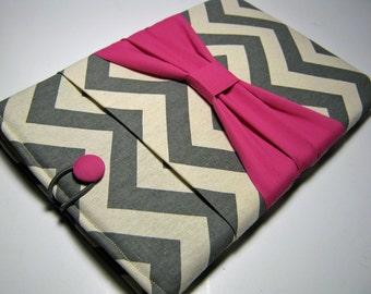 Microsoft Surface Case, Surface Pro 4 Case, Surface RT Cover, Surface Pro 3 Case, Surface 2 Case, Gray Chevron w/ Pink Bow