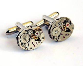 Vintage Watch Mechanism Cufflinks - Handmade Cufflink - Groomsmen - Wedding