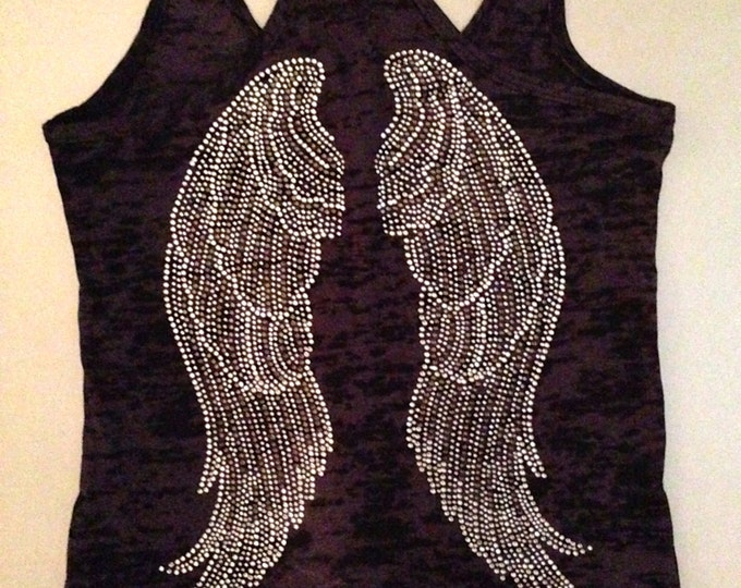 Angel Wings Rhinestone Workout Tank Top. Fitness Motivation Tank Top. Burnout Workout Tank Top. Fitness Apparel. Womens Fitness clothing.