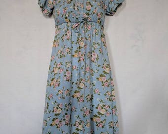Retro 1990's Rose Cottage Blue Floral Dress