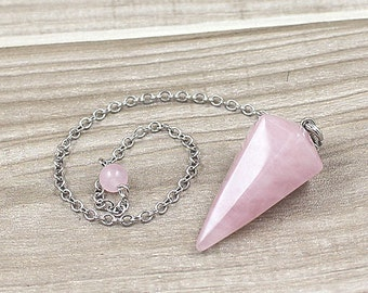 Rose Quartz Point Pendulum Pendant -- Healing Crystal Point Pendant with Silver Plated bail Wholesale 1,3,5,10,50,100