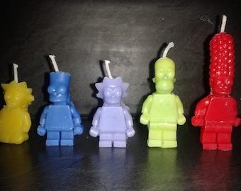 Simpsons lego birthday candles x 5