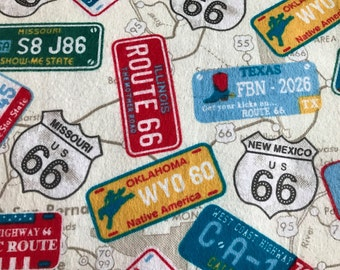 FLANNEL - License Plate Fabric - License Plate Flannel - Route 66 Fabric - Travel Fabric - Highway Fabric