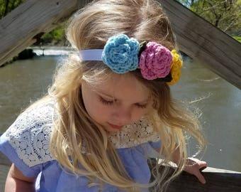 Crochet 3-Flower or Rosette Headband, Flower Crown, Baby Headband, Flower Headband, Ready-to-Ship