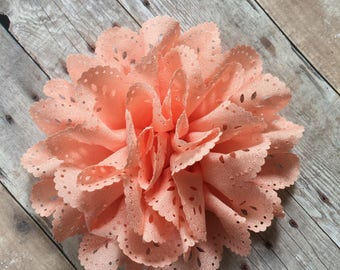 "Peach Eyelet Flower, 4"" Fabric Flower, DIY Infant Headband, Headband Supplies, Eyelet Flower, Hair bow flower, Hair accessorie supply"