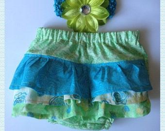 Ruffle Diaper Cover Set w/Matching Headband RTS Ready to Ship 12-24 Mth Baby Girl Dressy