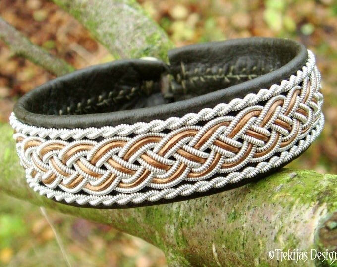 Bronze and Olive Leather Viking Bracelet GIMLE Norse Sami Armband with Pewter Braid for Guys and Girls - Custom Handmade to Your Wishes