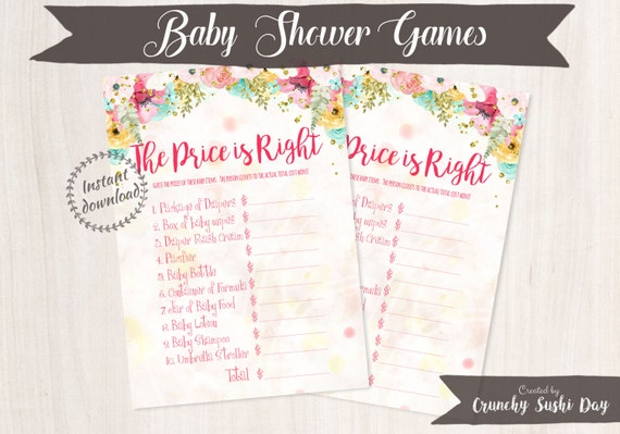 Printable Baby Shower Games, The Price is Right, Fun, Easy, Floral, Baby Shower, Party Printables, Baby Shower Decorations, Teal, Pink 001