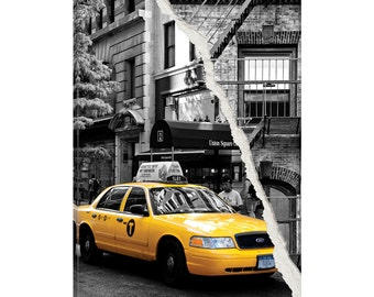 iCanvas Dual Torn Series - Yellow Cab Gallery Wrapped Canvas Art Print by Philippe Hugonnard