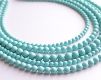 Janelle - Light Blue Glass Bridesmaid Statement Necklace