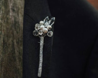 Crystal and pearl button hole boutonniere, any colour