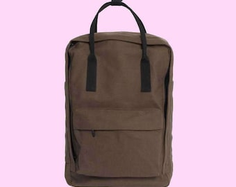 NEW Soft Cotton Backpack Tote Bag Taupe