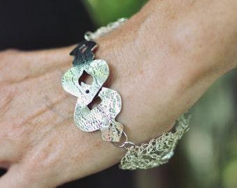 Crochet Silver Wire Bracelet