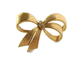 Gift for mom brooch Gold bow pin Bow crystal brooch Gold bow brooch Avon crystal brooch Brushed gold brooch Jewelry gift Large bow brooch