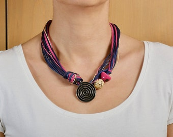 Chunky necklace, spiral pendant necklace, short necklace, tagua jewelry, pink navy necklace, women gift.