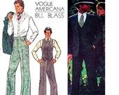 Vogue Americana 1129 BILL BLASS Mens 3 Piece Suit Lined Jacket Blazer Waistcoat Vest& Pants 70s Vintage Sewing Pattern size Chest 40 inches