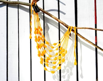 Bright yellow Summer knitted necklace thread knitted necklace boho dress necklace long necklace designer jewelry cotton knit necklace