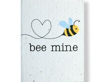 """PLANT THE CARD! - """"bee mine"""" - Grows Wildflowers or Herbs - 100% recycled - #VDX004"""