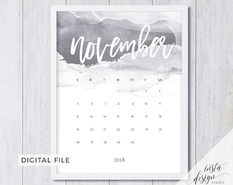 november 2018 printable pregnancy baby announcement calendar marble style social media flatlay photo prop due date download