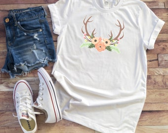 Adult Floral Antlers Shirt/ Southern Shirt/ Ladies Shirt/ Country Shirt/ Womens Shirt/ Graphic Tee #97