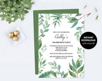 Birthday Invitation for Her, Edit Now Birthday Invite, PDF Template, Greenery, Garden Invite, 21st, 30th, 50th, 90th, Birthday Invitations