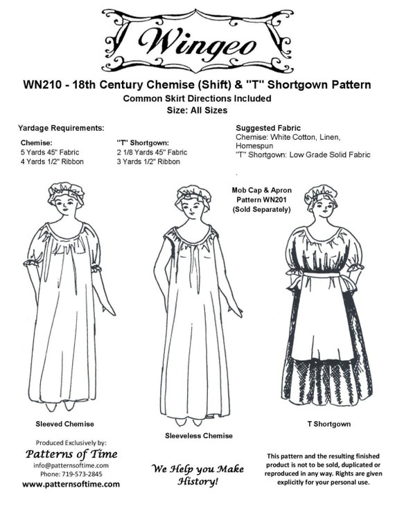 WN210 18th Century Chemise Shift & T Shortgown