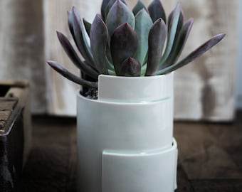Porcelain Planter - Tiered Collection - Circular, Medium