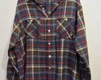 A Men's Neat Vintage 80's,Brown Plaid,Indie Mod era Shirt By BUCKINGHAM.L(42R) As Is