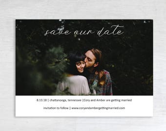 Customizable, Print at home save the date, printable save the date, save the date photo card, simple, classic