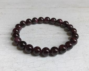 Garnet Bracelet | 8 mm Beads | Garnet Beads | Stretch Bracelet | Healing Crystal Bracelet | Buy 4 Get 1 FREE!