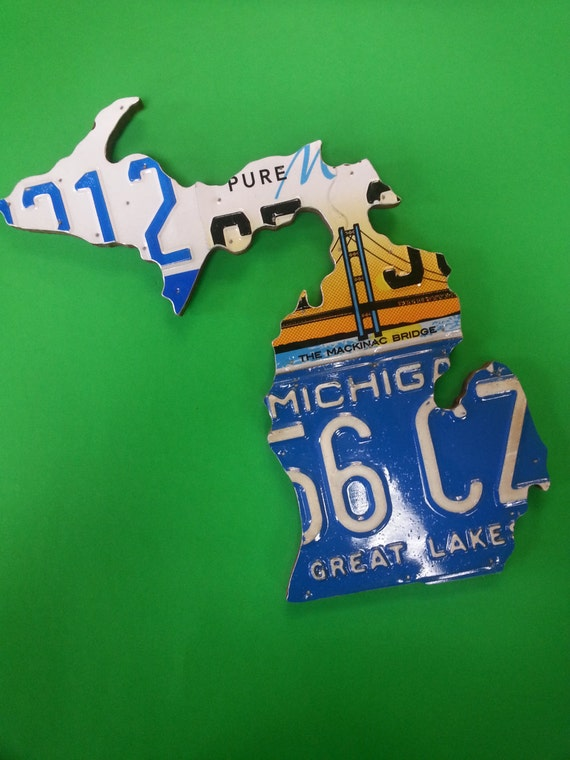 State of Michigan Recycled License Plate Map handcrafted recycled License Plates, Unique Gift, Wall Decor - Made in Michigan by local artist