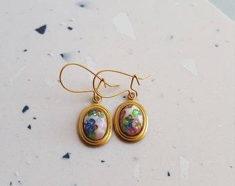 Dainty brass drop glass confetti cabochon earrings