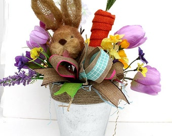 Whimsical Easter table arrangement, Easter centerpiece, burlap carrot, spring centerpiece, pastel decorations, home decor, burlap ribbons