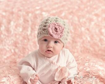 "Beanie Hat Crocheted ""Emma Grace""  Linen, Country Rose Baby Newborn Trendy Classy Flower Trim"