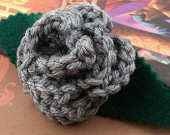 Crocheted Rose Lapel Pin - Gray (SWG-PL-HWSL01)
