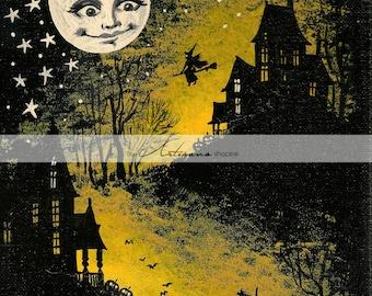 Instant Printable Download - Halloween Full Moon Witch Haunted House Graveyard - Paper Crafts Altered Art Scrapbook - Vintage Halloween Art