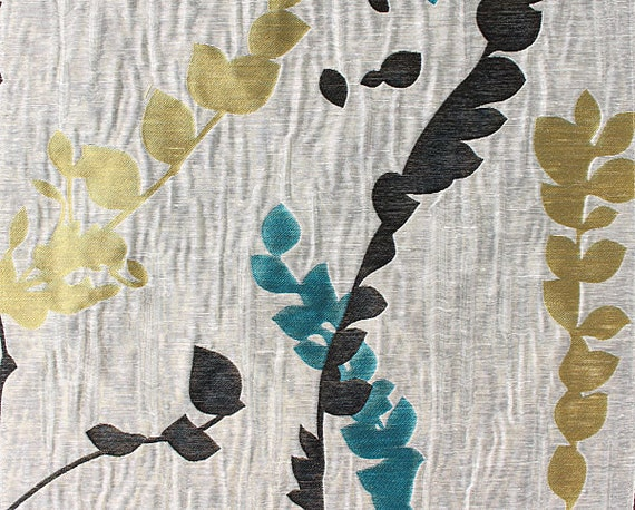 Custom Curtains In Greige With Black Teal Yellow Green