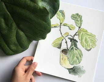 Plant Mum Gift / Fiddle Leaf Fig / Green Botanical Watercolour Art / Housewarming Gift / Plant Painting / Fine Art Print of Watercolour